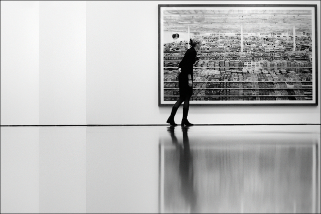 Visitor at press view of Andreas Gursky exhibition at Museum Kunstpalast Düsseldorf